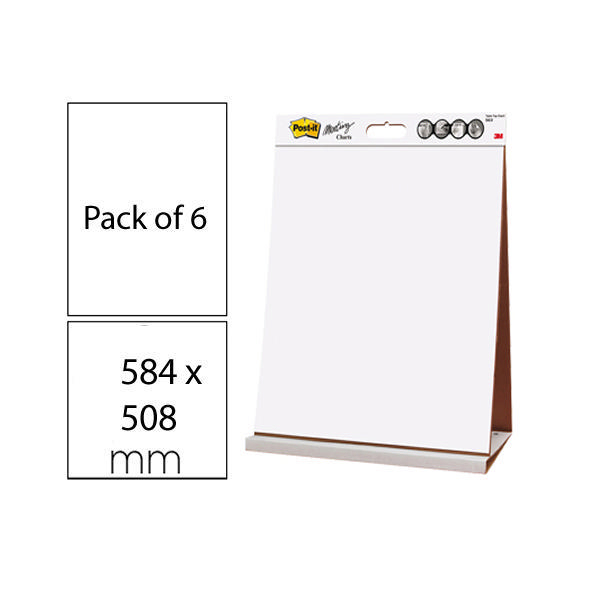 Post-it Super Sticky Table Top Easel Pad (Pack of 6) 563 | 3M59638
