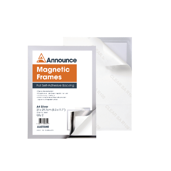 Announce Magnetic Frames A4 Silver Pack of 2 AA01840 | AA01840