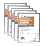 Announce Magnetic Frames A4 Silver Pack of 5 AA01841 | AA01841