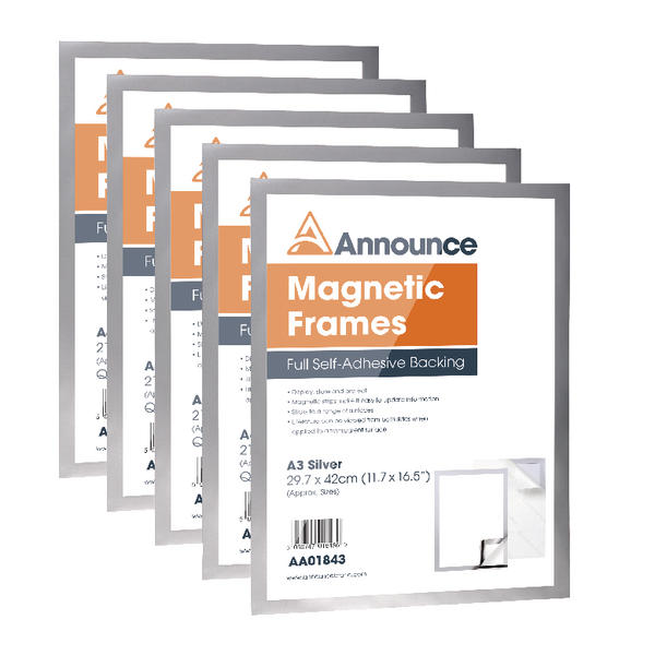 Announce Magnetic Frames A3 Silver Pack of 5 AA01844 | AA01844