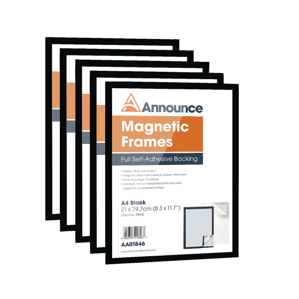 Announce Magnetic Frames A4 Black Pack of 5 AA01847 | AA01847