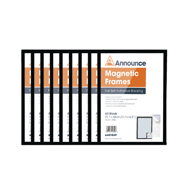 Announce Magnetic Frames A3 Black Pack of 10 AA01851 | AA01851