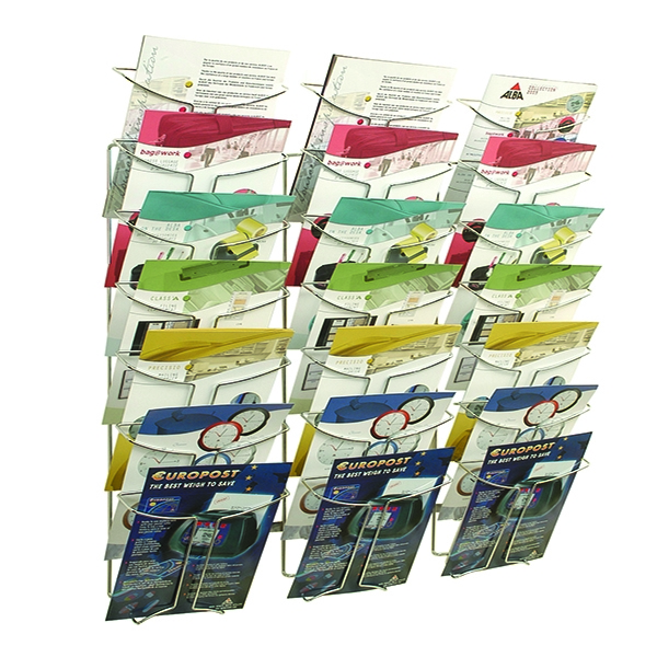 Alba Wall Mounted 7-Tier 21-Pocket Literature A4 Holder Chrome DDFIL21M | ALB00767