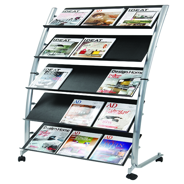 Alba 5 Shelf Single Sided Mobile Literature Display Stand 3xA4 DD5GM | ALB00930