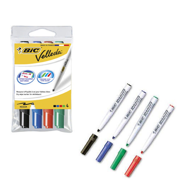 Bic Velleda 1741 Bullet Tip Assorted Whiteboard Marker (Pack of 4) 1199001744 | BC01744