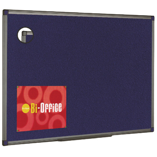 Bi-Office Blue Aluminium Finish Felt Notice Board 900x600mm FB0743186 | BQ04431