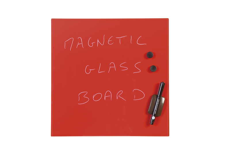 Bi-Office Magnetic Glass Personal Board Red 380x380mm GL140301 – BQ11340
