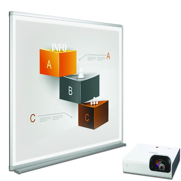 Bi-Office Bi-Bright 72in Whiteboard and Short Throw Projector Presentation Bundle BBS1891235 | BQ12618