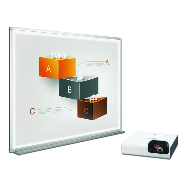 Bi-Office Bi-Bright 90in Whiteboard and Short Throw Projector Presentation Bundle BBS1991235 | BQ12619
