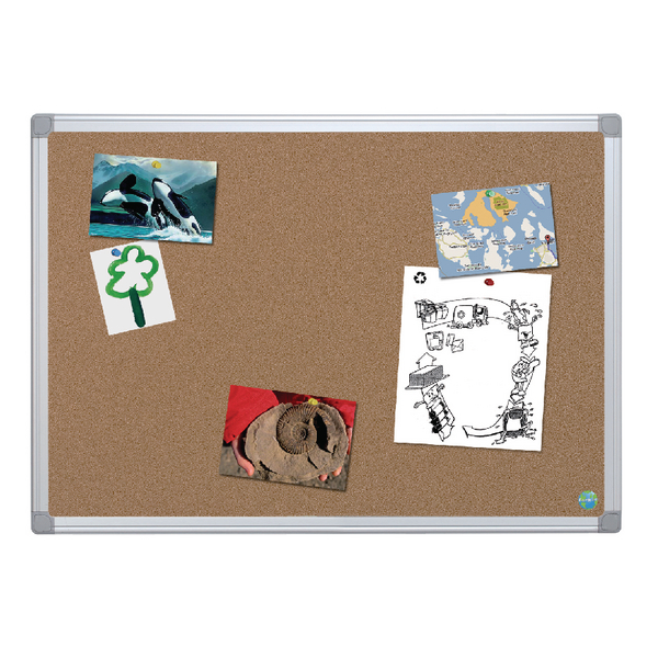Bi-Office Earth-It Aluminium Frame Cork Board 900x600mm CA031790 | BQ42039