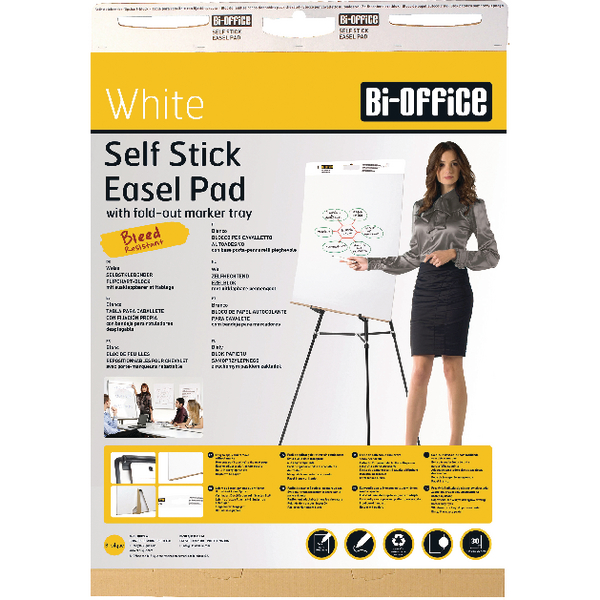 Bi-Office Self-Stick Flipchart Pad 635x780mm 30 Sheets White FL128107 | BQ55107