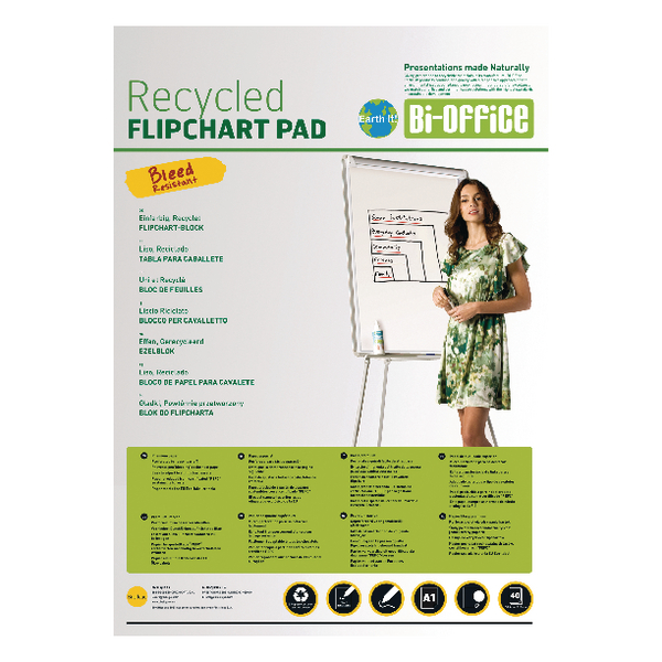 Bi-Office Earth-It Flipchart A1 Pad Plain 40 Sheets 55gsm FL0111801 | BQ55181