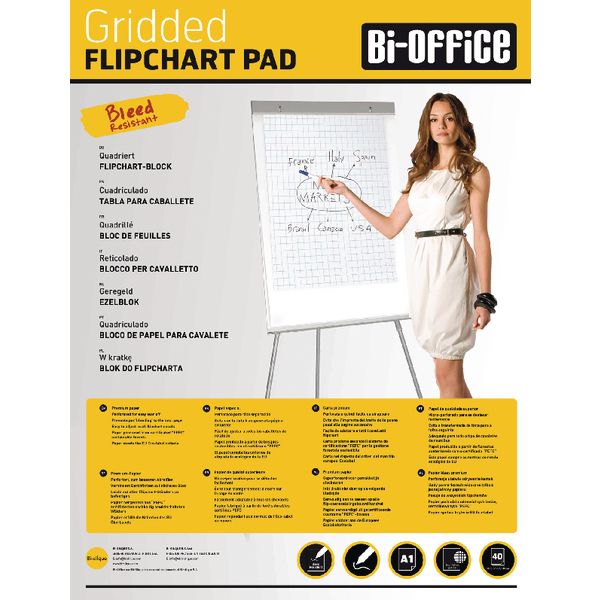 Bi-Office White A1 Gridded Flipchart Pads (Pack of 5) FL012301 | BQ55301
