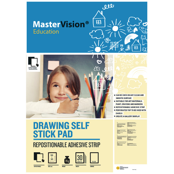 Bi-office Self Stick Mastervision Drawing Pad Plain FL1226407R | BQ55984