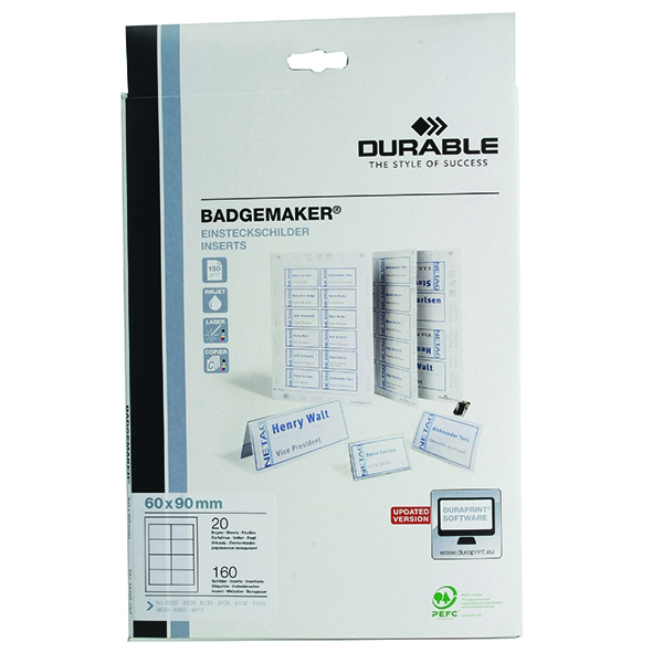 Durable Badgemaker 160 Inserts 60x90mm 1456/02 (Pack of 160) | DB14056