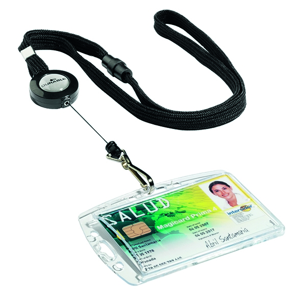 Durable Textile Lanyard With Badge Reel Black (Pack of 10) 8223/01 | DB68028