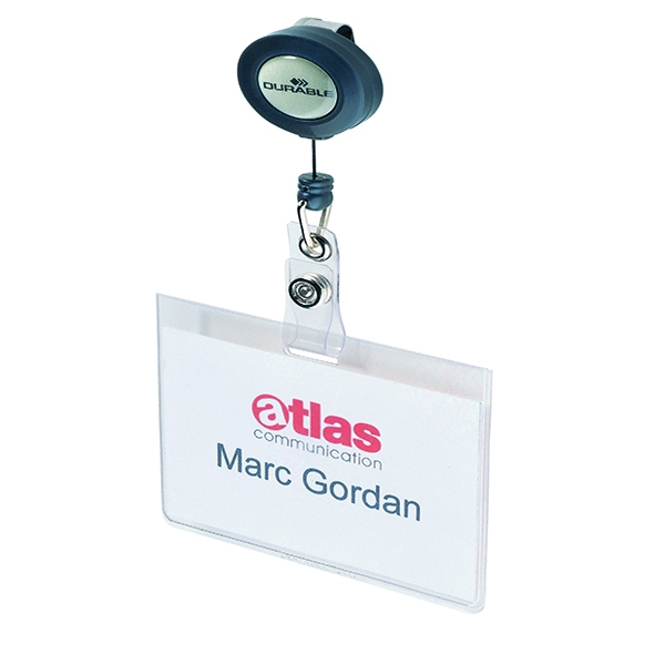 Durable Name Badge With Reel (Pack of 10) 8138/19 | DB80000