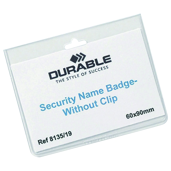 Durable No Clip Security Badge 60x90mm (Pack of 20) 8135/19 | DB80026