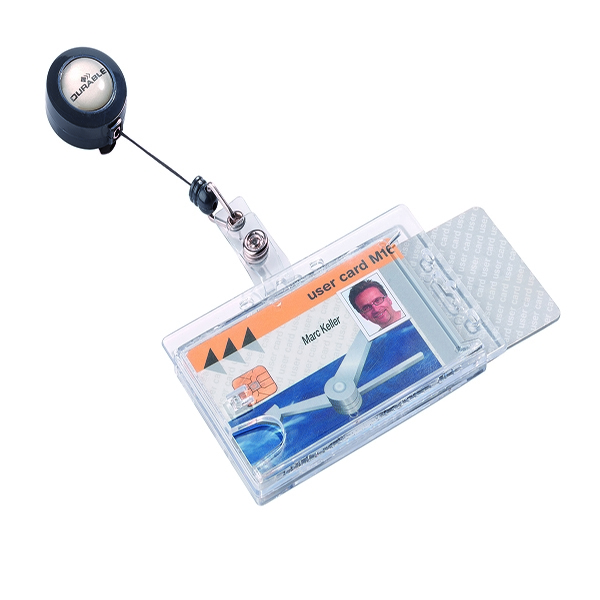 Durable Dual Security Pass Holder With Badge Reel (Pack of 10) 8224/19 | DB80277