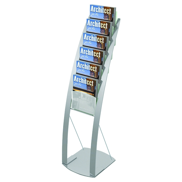 Deflecto Silver Six Pocket Literature Floor Stand DE693145 | DF02731