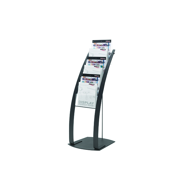 Deflecto Black Six Pocket Literature Floor Stand 693104 | DF02732