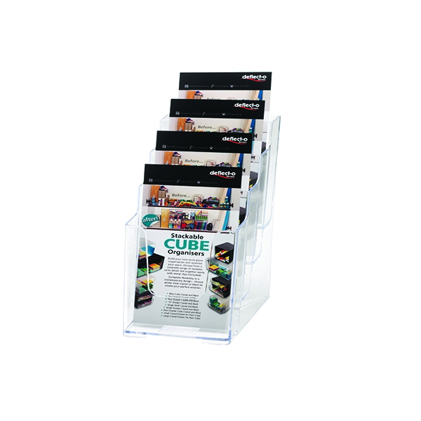 Deflecto 1/3xA4/DL 4-Tier Clear Literature Holder 77701 | DF77701