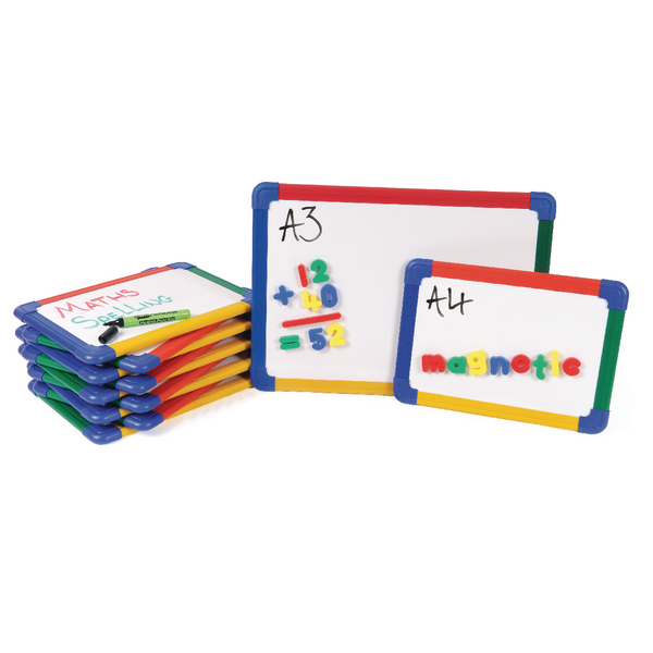 Show-me A4 Rainbow Framed Magnetic Whiteboard (Pack of 10) MBA4/10 | EG60253