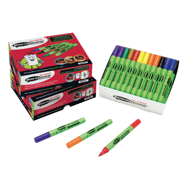Show-me Medium Drywipe Pen Assorted (Pack of 50) SDP50A | EG60473