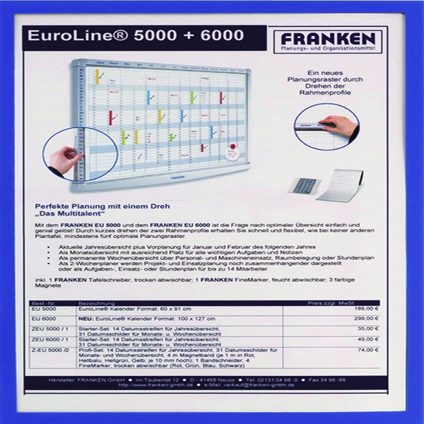 Franken Document Holder Magnetic Din A4 5-pieces Blue ITSA4M/5 03 (Pack of 5) | FA18530