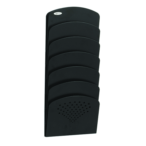 Safco Seven-Pocket Wall Rack Steel Black 3185BL   GU31852