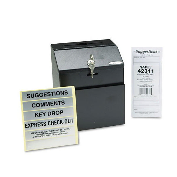 Safco Locking Steel Suggestion Box Black 4232BL | GU42322