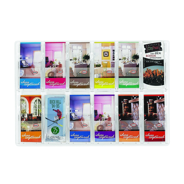 Safco Reveal Clear Pamphlet Display Rack 12xDL Pocket 5604CL   GU56040