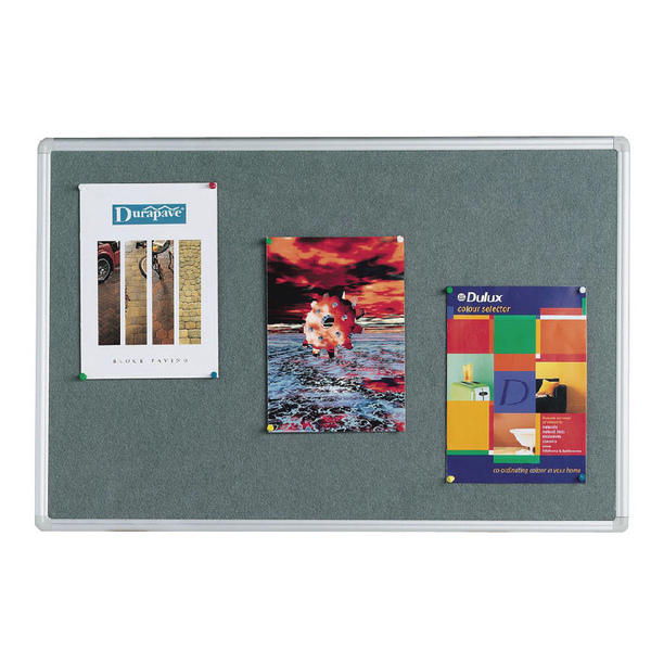 Q-Connect 1200x900mm Aluminium Frame Grey Notice Board 9700026 | KF01074