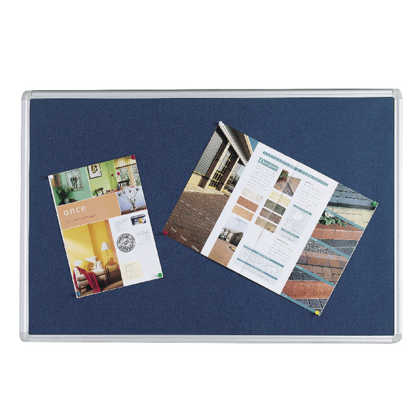 Q-Connect 900x600mm Aluminium Frame Blue Notice Board 9700028 | KF01076