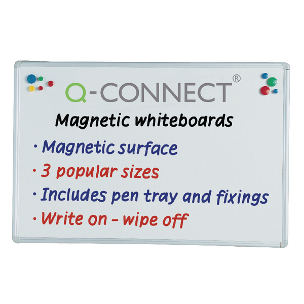 Q-Connect Aluminium Magnetic Whiteboard 1200x900mm 9700032 KF01080 | KF01080
