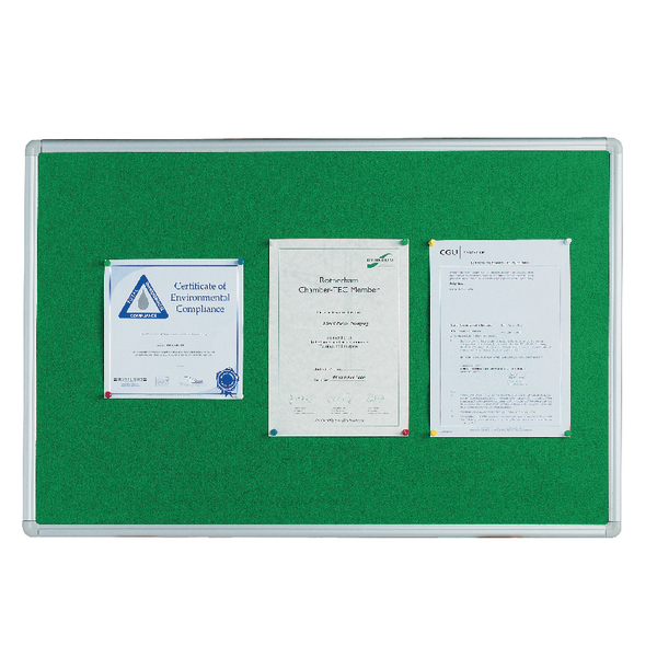 Q-Connect 900x600mm Aluminium Frame Green Notice Board 54034203 | KF26063