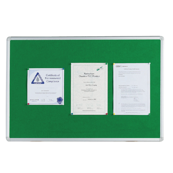 Q-Connect 1200x900mm Aluminium Frame Green Notice Board 54034204 | KF26064