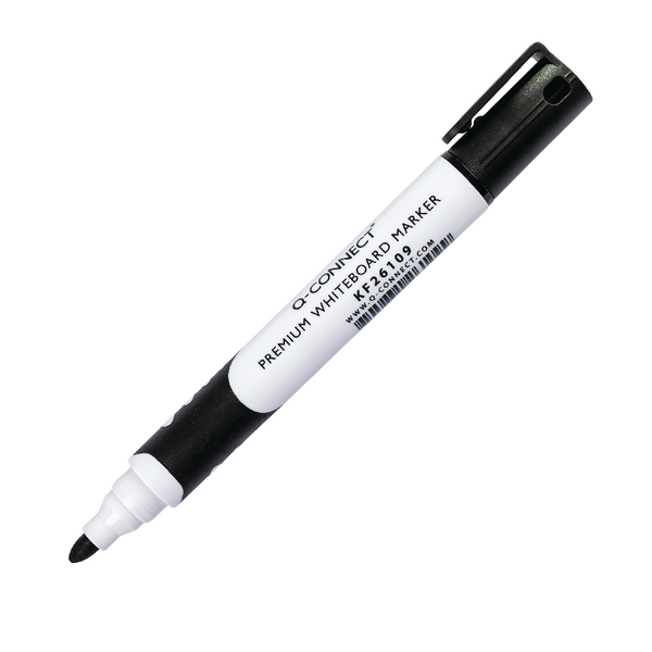 Q-Connect Black Premium Drywipe Whiteboard Marker Pens Bullet Tip (Pack of 10) KF26109 | KF26109