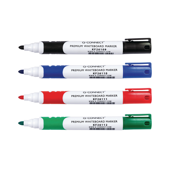 Q-Connect Assorted Premium Drywipe Whiteboard Markers Bullet Tip (Pack of 4) KF26113 | KF26113