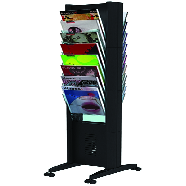 Fast Paper Black Double-Sided 16 Compartment Literature Display F276N01 | MF88105