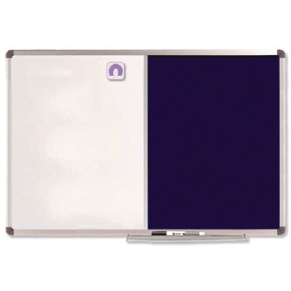 Nobo Combination Board Magnetic Drywipe and Blue Felt 1200x900mm 1902258 | NB19703