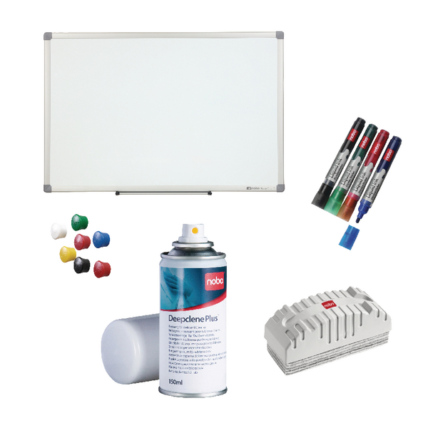 Nobo Nano Clean Steel 900x600mm with Free Drywipe Markers Deepclene Eraser and Pins NB810083 | NB810083