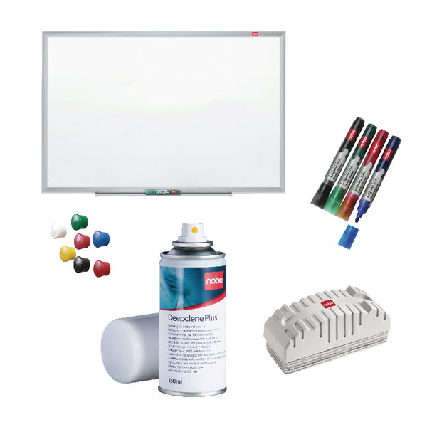 Nobo Nano Clean Steel 1200x900mm with Free Drywipe Markers Deepclene Eraser and Pins NB810084 | NB810084