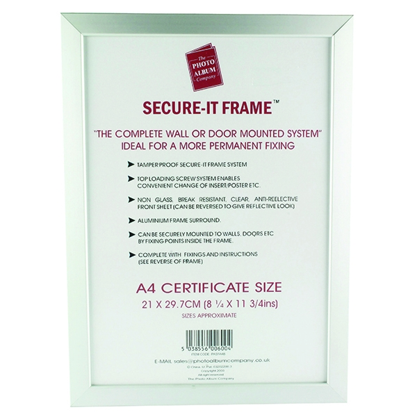 Photo Album Company Silver Secure It Aluminium A4 Frame PASFA4B | PHT00600