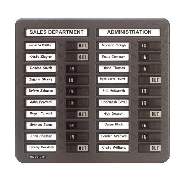 Indesign In/Out Board 20 Names Grey WPIT20I | PS15001