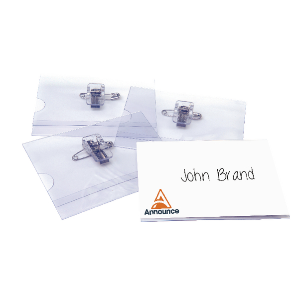 Announce Combi Clip Name Badge 54x90mm (Pack of 50) PV00918 | PV00918