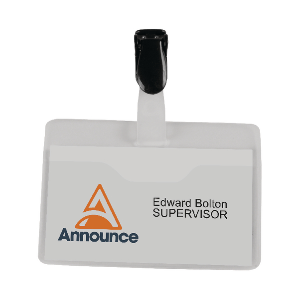 Announce Visitor Name Badge 60x90mm (Pack of 25) PV00921 | PV00921