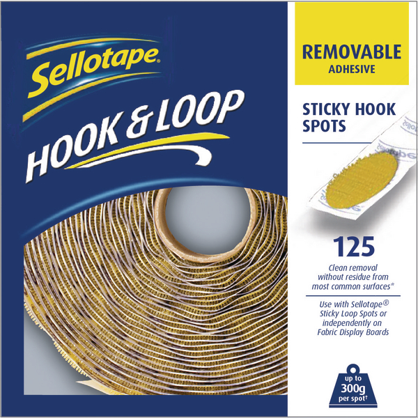 Sellotape Hook Spots Removable Yellow (Pack of 125) 2055787 | SE05823