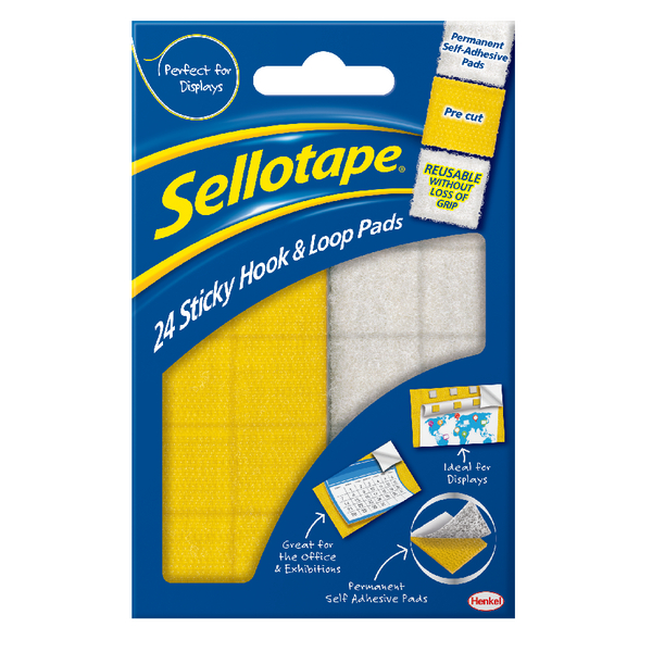 Sellotape Yellow/ White Sticky Loop and Hook Pads (Pack of 24) SE4542 | SE4542