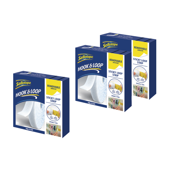Sellotape Loop Strip 25mm x 12m Removable White (Pack of 3) SE810851 | SE810851